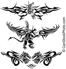 Tattoos-Dragons - Three tattoos with dragons and some design...