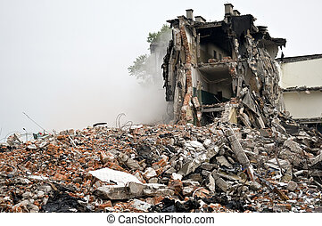 Destroyed building, debris. Series