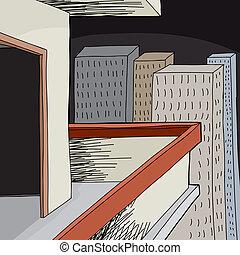 Empty Balcony at Night - Cartoon apartment balcony with open...