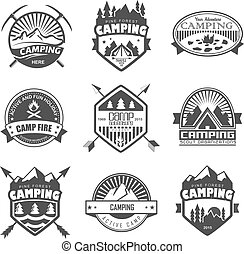 Camping logo, labels and badges Travel emblems
