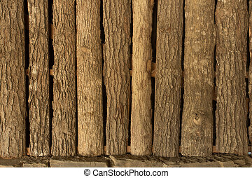 Grungy wooden textures forming a wall