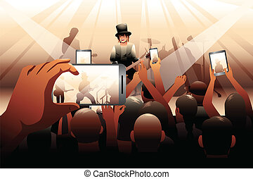 People in concert scene - A vector illustration of people in...
