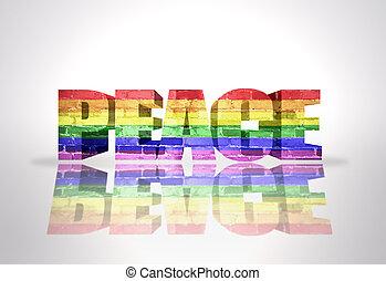 Word Peace with Rainbow Gay Flag