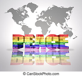 Word Peace with Rainbow Gay Flag - Text Peace with Rainbow...