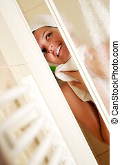 woman shower - Young beautiful happy smiling tanned brunett...