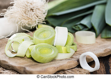 Portion of Cutted Leek - Portion of fresh Cutted Leek on...