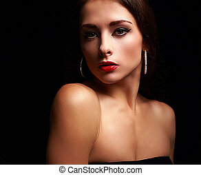Beautiful calm makeup woman with bright red lips on black background