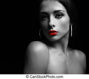 Sexy makeup woman with calm look. Art black and white...