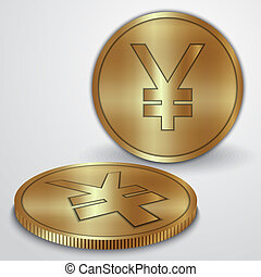 Vector illustration of gold coins with Japanese Yen currency...