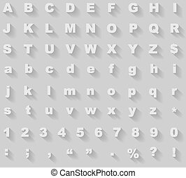 White diagonal long shadow styled alphabet vector template