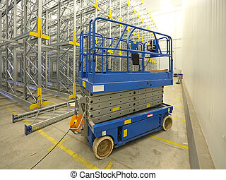 Scissor lift aerial work platform in warehouse