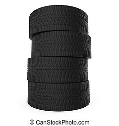 Stack of automobile tyres isolated on white background.