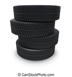 Rubber automobile winter tires isolated on white background.