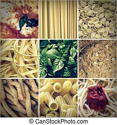 alimento, colagem, olhar,  retro, italiano