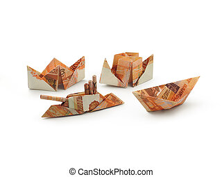 collection of origami ships of five thousands ruble...