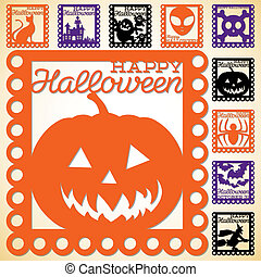 Set of Halloween papel picado in vector format
