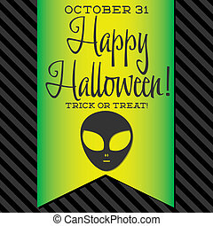 Alien Halloween sash card in vector format.