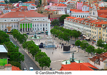 Rossio square, Lisbon - famouse Rossio square from above,...