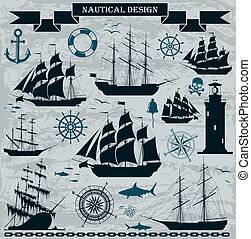 Set of sailing ships with nautical design elements. Vector....