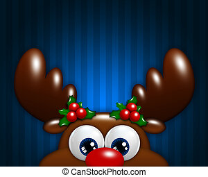 christmas cartoon reindeer over blue background with place...