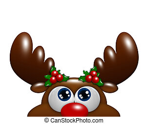 christmas cartoon reindeer with holly looking up over white...