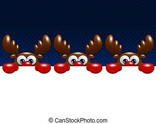 christmas cartoon reindeers over blue background holding...