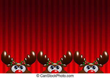 christmas cartoon reindeers with holly looking up over red...
