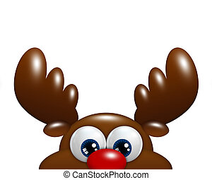 christmas cartoon reindeer isolated over white background...