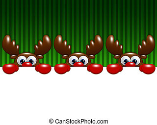 christmas cartoon reindeers over green background holding...