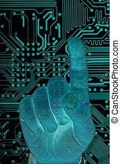 Future technology. - Man hand with secure data by touch...