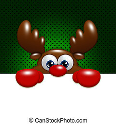 christmas cartoon reindeer over green background holding...