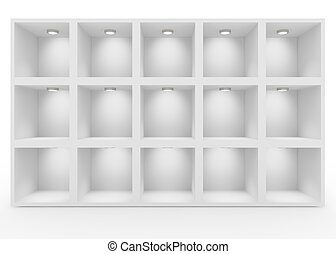 Empty white shelves with lighting