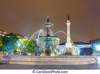 Rossio square at night, Lisbon - fountain of Rossio square...