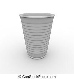 White plastic cup - Plastic white cup on isolated background