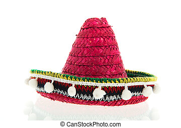 Red Sombrero - Red Spanish Sombrero isolated over white...