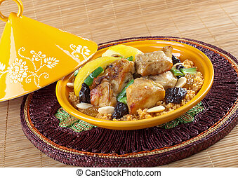 Tajine, moroccan chicken with lemon confit and cous cous