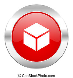 box red circle chrome web icon isolated