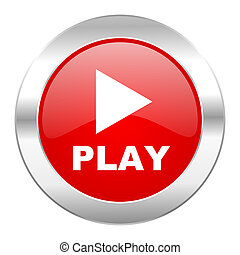 play red circle chrome web icon isolated