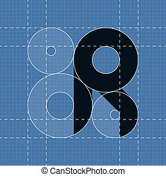 Round engineering font. Symbol R. Vector illustration in...