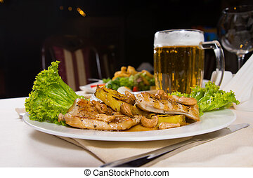 Gourmet Meaty Main Dish with Beer Mug Served - Gourmet...
