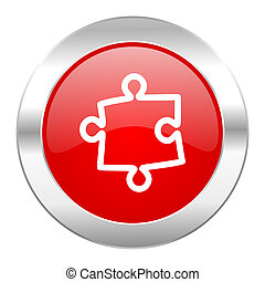 puzzle red circle chrome web icon isolated