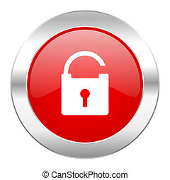 padlock red circle chrome web icon isolated