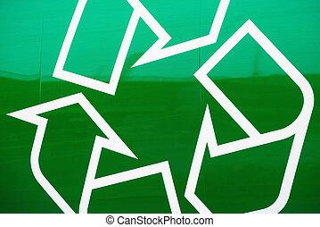 reciclaje, logotipo, lado, basura, camión