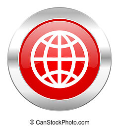 earth red circle chrome web icon isolated