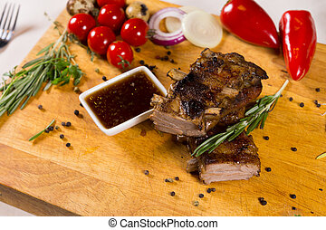 Tasty Meaty Main Dish with Dip Sauce - Tasty Meaty Main Dish...