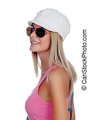 Casual blonde girl with sunglasses