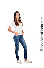 Beautiful young girl with jeans isolated on a white...