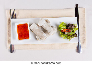 Overhead of Spring Rolls Appetizer