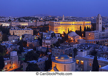 Jerusalem Old City at Night, Israel - Jerusalem Old City and...