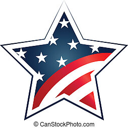 Election 2016 with USA Flag illustration Vector icon symbol...